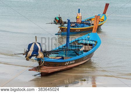 Phuket, Thailand - November 29, 2019: Selective Focus On The Traditional Longtail Boat On The Patong