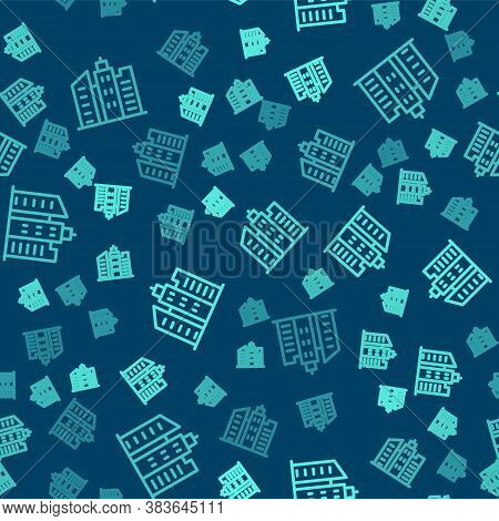Green Line City Landscape Icon Isolated Seamless Pattern On Blue Background. Metropolis Architecture
