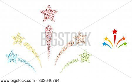 Vector Salute Star Fireworks Collage Is Formed From Randomized Self Salute Star Fireworks Items. Rec