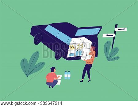 Flat Vector Cartoon Illustration With Young People Unloading Car. Couple Near Opened Car Trunk Carry