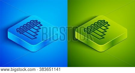 Isometric Line Pan Flute Icon Isolated On Blue And Green Background. Traditional Peruvian Musical In
