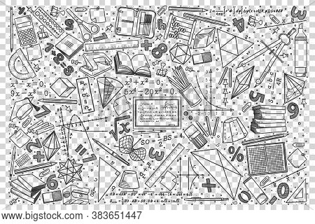 Mathematics Doodle Set. Collection Of Hand Drawn Sketches Templates Drawing Patterns Of Equation Geo