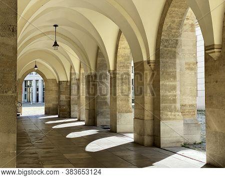 Arch Minoritenkirche Vienna, Thoroughfare Of Church At Minoritenplatz In Innere Stadt Of Austrian Ca