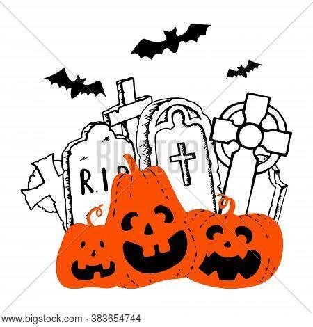 Halloween Orange Smiling Pumpkin Headstone And Celtic Cross Black Bats Silhouette. Hand Drawn Doodle
