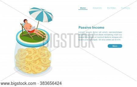 Website Landing Page Template Cartoon Passive Income Concept Earning Money And Enjoying Vocation At