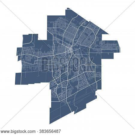 Winnipeg Map. Detailed Vector Map Of Winnipeg City Administrative Area. Cityscape Poster Metropolita