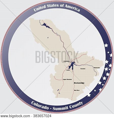 Round Button With Detailed Map Of Summit County In Colorado, Usa.