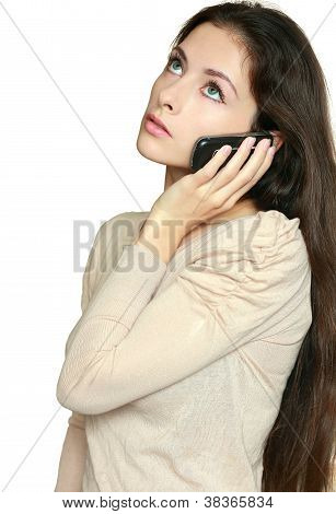 Beautuful Business Woman Talking On Phone And Thinking Looking Up Isolated