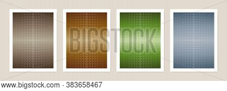 Color Earth Tone Poster Set. Abstract Geometric Triangle Shapes Background. Covers Design. Vector Il