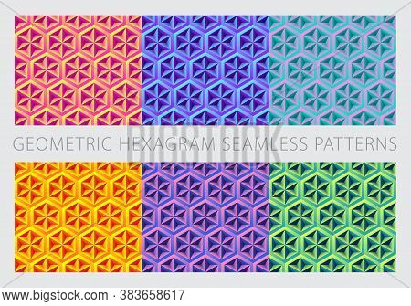 Bright Neon Psychedelic Colorful Set. Geometric Hexagram Shape Seamless Patterns. Pink, Yellow, Oran