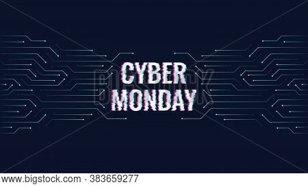 Concept For Cyber Monday, Electronics Sale. Vector Abstract Banner, In Digital Techno Style. Dark Bl