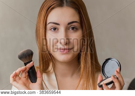 Acne And Post Acne Skin, Scars, Skin Care. Concept Of Beauty, Girl Put On Make Up On A Problem Skin