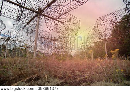 A Long Row Of Radio Telescopic Antennas