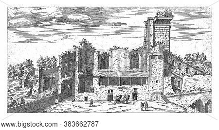 Ruins on the Quirinal in Rome, Etienne Duperac, 1575 View of the remains of the Quirinal in Rome, vintage engraving.