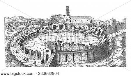 Amphitheatrum Castrense in Rome, Etienne Dupérac, 1575 View of the remains of the Amphitheatrum Castrense in Rome, vintage engraving.