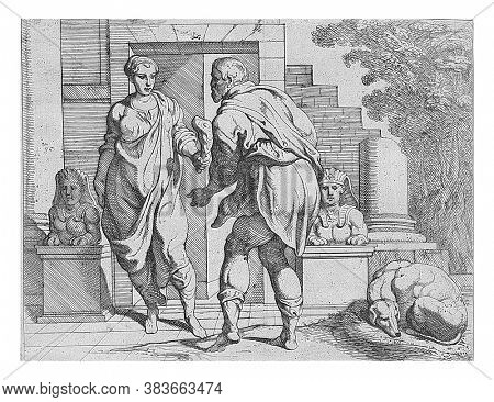 Odysseus receives alms from one of his servants, Odysseus disguised as a beggar receives a piece of meat as alms from one of his servants, vintage engraving.