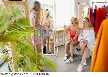 Shopping With Friends. Wear, Clothing Shop During Sales, Summer Or Autumn Collection. Young Women Lo