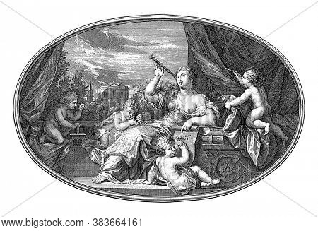 Ceiling piece with the personification of Zichtkunde, vintage engraving.