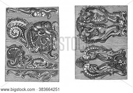 Two representations on a two-part album sheet. The image on the left shows various lobe-style ornaments, vintage engraving.