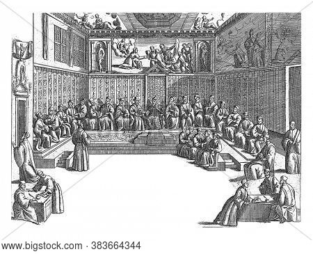 Meeting in the Sala del Collegio, anonymous, 1610 Interior of the Sala del Collegio in the Doge's Palace in Venice. The Venice Doge sits in the middle and leads a meeting, vintage engraving.