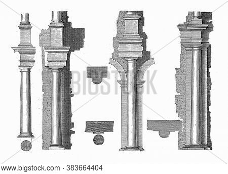 Four ways to place a column of the Tuscan order against a wall, Four ways of placing a column of the Tuscan order against a wall, rebellion and map, vintage engraving.