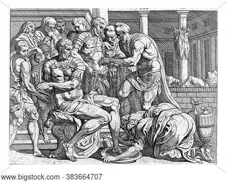 Odysseus and Telemachos wash themselves, After killing the suitors, Odysseus and Telemachus are washed by servants, vintage engraving.