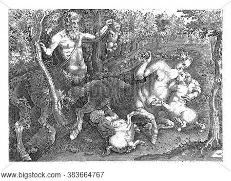Centaur family, anonymous, after Jan Collaert (II), after Jan van der Straet, vintage engraving.