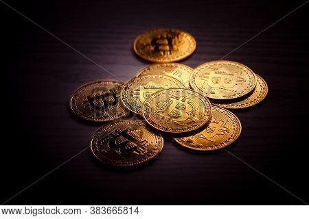 Bitcoin Coins Isolated On Black Background. Crypto Currency Gold Bitcoin, Btc, Bit Coin. Blockchain