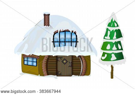 Winter House And First Isolated On White Background. Christmas House With Snow On The House Roof. Sa