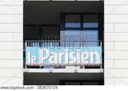 Odense, Denmark - April 9, 2017: Le Parisien Advertising On A Building. Le Parisien Is A French Dail