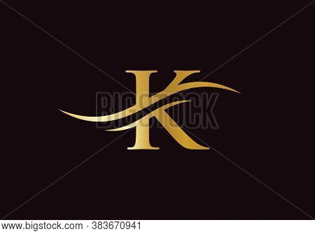 Initial K Logo Design Swoosh. Vector K Logo For Business And Company Identity