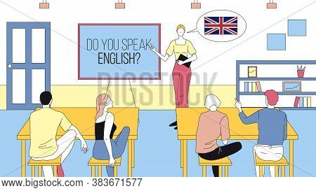 Do You Speak English Concept Cartoon Illustration. Linear Vector Composition With Outline Of Speakin