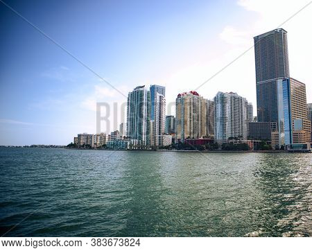 Warm Look Of Buildings In Brickell Miami, Florida, Contrast Look Of High Rises, Warm Look Of A City