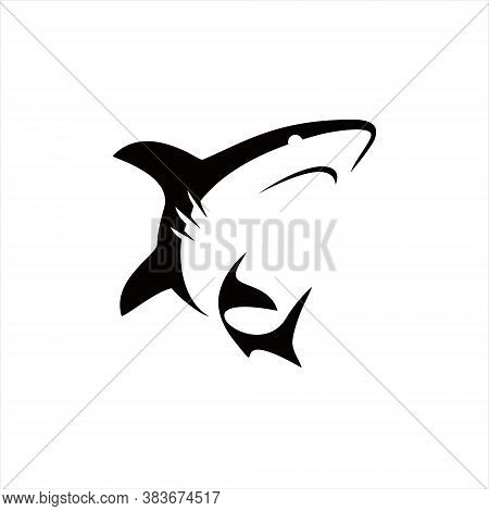 Shark Logo Silhouette Simple Illustration Of Fish Vector. Animal Element. Nature Icon Template, Stic