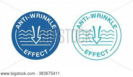 Anti-wrinkle Sign - Icon With Smoothing Waves (wrinkles) And Drop Of Gel, Cream Or Fluid - Stamp For
