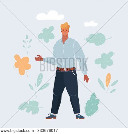 Vector Illustration Of Successful Man Likes Perfume Scent. Male Full Length Character On White Backg