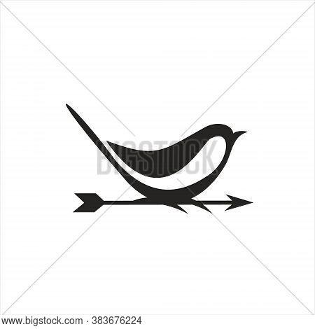 Black Sparrow Logo Modern Bird With Arrow Illustration For Business Icon Design Idea