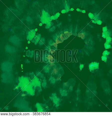 Tie Dye Circular. Color Psychedelic Patterns. Hippie Spiral Kaleidoscope. Green Tie Die Roll. Circle