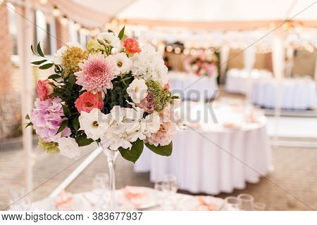 Table Setting At A Luxury Wedding Reception. Wedding Reception Place Ready For Guests. Luxury Weddin