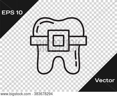Black Line Teeth With Braces Icon Isolated On Transparent Background. Alignment Of Bite Of Teeth, De