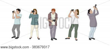 Set Of People - Man And Woman With Cameras Taking Photos From All Angles. Photographers, Paparazzi,