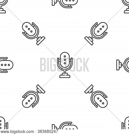Grey Line Microphone Icon Isolated Seamless Pattern On White Background. On Air Radio Mic Microphone