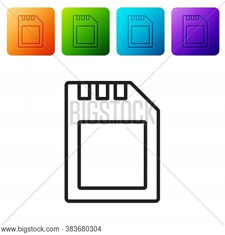 Black Line Sd Card Icon Isolated On White Background. Memory Card. Adapter Icon. Set Icons In Color