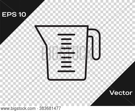 Black Line Measuring Cup To Measure Dry And Liquid Food Icon Isolated On Transparent Background. Pla