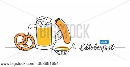 Oktoberfest Vector Banner, Background With Beer, Pretzel And Sausage. One Continuous Line Drawing Ba