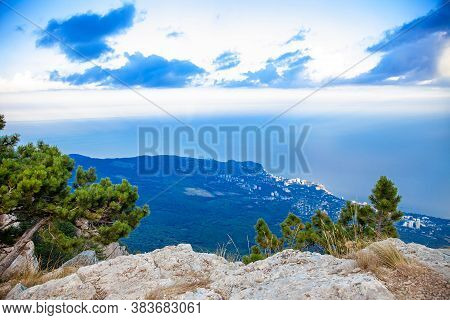 Ay-petri Mountain Romantic Cloudy Sunset Evening View