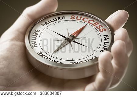Man Hand Holding A Conceptual Compass With Needle Pointing The Word Success. Strategic Vision. Succe