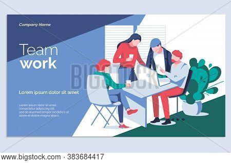 Team Work Banner Template. Business Team Working On Project Together At Desk With Laptop. Business M