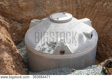 Construction Site With Cistern Made Of Cement Filledwith Gravel