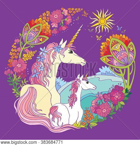 Vector Beautiful Unicorn And Foal With Flowers In Circle Composition. Colorful Ornamental Illustrati